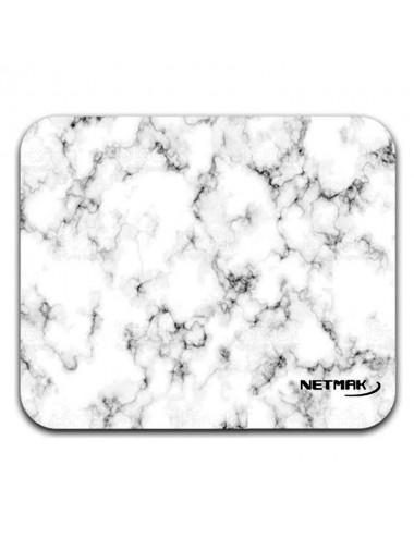 Pad Mouse Netmak M1224 Marmol white blanco  20cm x 20cm x 3mm antideslizante